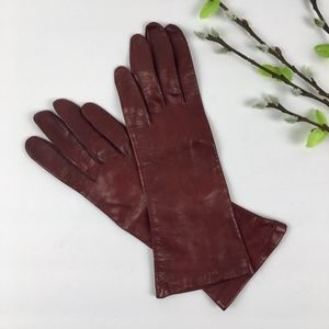 Accessories - Red Italian LEATHER SILK Lined Gloves Size 7.5